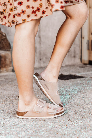 Arizona Fur Birkenstocks | Nude