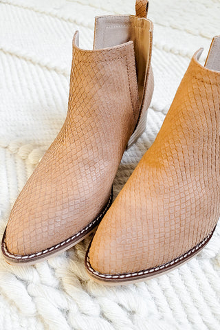 Avery Whiskey Snake Print Booties