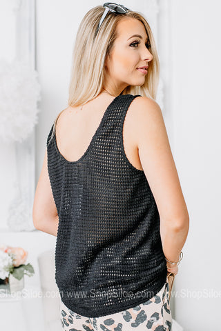 Basic Babe Sheer Waffle Pocket Tank | Black