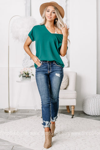 Basic & Easy Love V-Neck Top | Dark Green