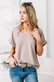 Basic & Easy Love V-Neck Top | Latte