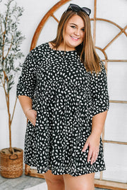 Black Cheetah Printed Dress | Plus