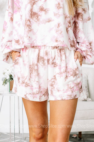 Blush & Bashful Tie Dye Elastic Shorts
