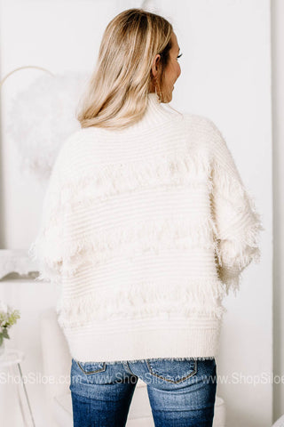 Bring The Cocoa Turtleneck Fray Knit Sweater