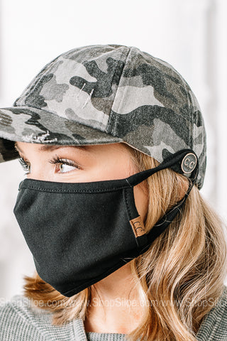 C.C. Pony Cap W/ Side Button Mask Holders | Colors