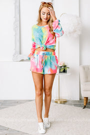 Catch The Surf Neon Tie Dye Drawstring Shorts