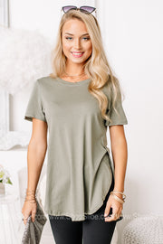 Here We Are Side Slit Basic Top | Light Olive
