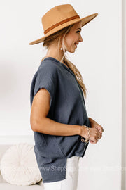 Sea Side Breeze Textured Boxy Tops | Navy
