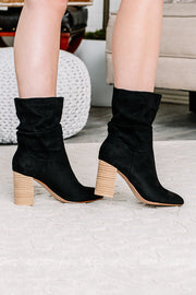 Darby Block Heeled Slouchy Booties | Black