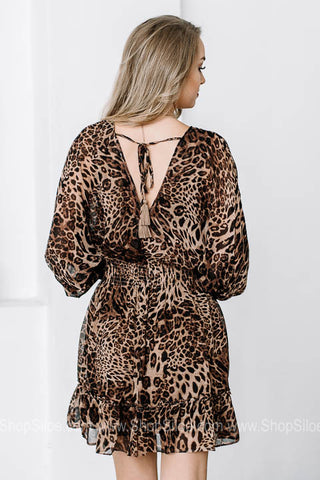 Dark Animal Print Empire Dress