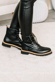 Drew Lace Up Black Leather Boots