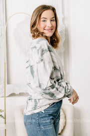 Far Out Icey Grey Tie Dye Long Sleeve Top