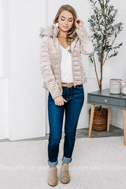 Faux Fur-Lined Velvet Quilted Jacket