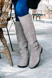 Faux Suede Knee-High Boots | Stone