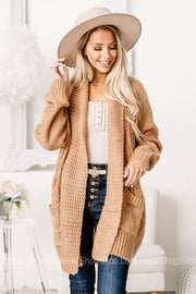 Forever In Love Cable Knit Cardigan | Natural Mauve