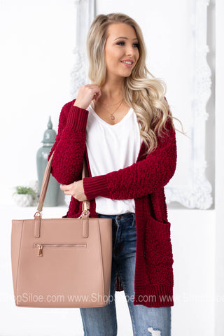 Fuzzy Soft Cardigan with Pocket | Wine