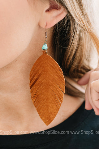 Genuine Leather Oval W/ Turquoise Drop Earrings