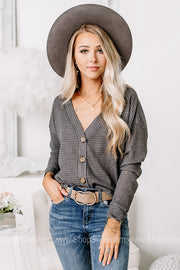Getting It Done Button Down Waffle Cardigan | Charcoal