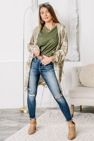 Have A Say In It Fray Hemmed Cardigan | Olive