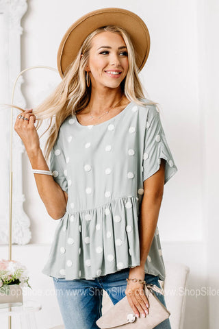 Head In The Clouds Spotted Peplum Top