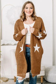Here For Comfort Star Designed Cardigan