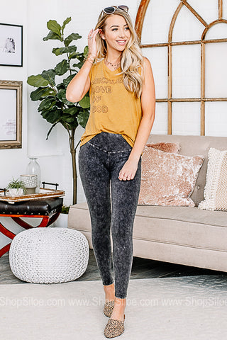 Here For It Mineral Washed Leggings | Charcoal