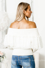 Hold On Tight Off Shoulder Fringe Sweater