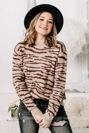 In High Demand Zebra Print Sweater