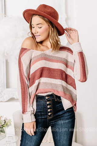 It's Sheer Perfection Striped Sheer Knit Top