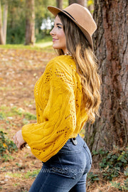 It's That Time Of Year Cropped Mustard Sweater