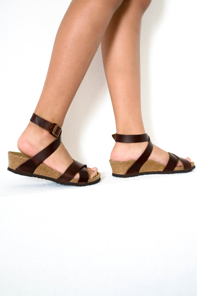 e2f9d961fabb Lola Leather Cognac Wedge