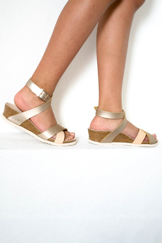 Lola Leather Frosted Metallic Rose Wedge | Papillio by Birkenstock | Best Seller - Siloe