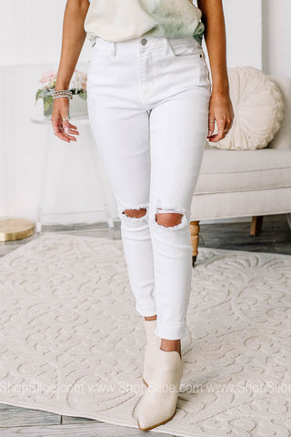 Made You Look Ankle Skinny Jeans | White