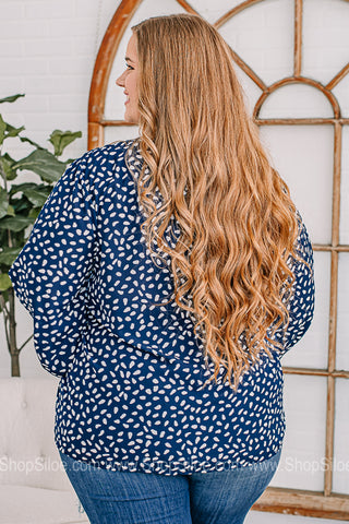 Modest & Flowy Navy Top | Plus