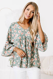 My Heart Of Glass Floral Babydoll Top