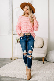 My Way Only Fringe Sweater | Baby Pink