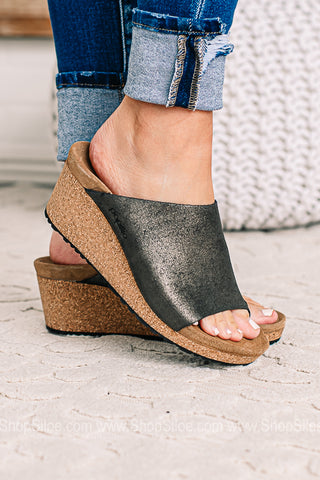 Namica Suede Leather | Washed Metallic Black | Papillio By Birkenstocks