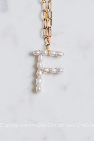 Natural Freshwater Pearl Initial Necklace | Letters