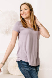 Nirvana Longline Deep V Pocket Top | Purple