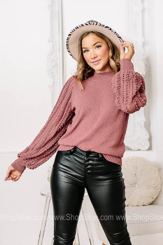 Now And Forever Textured Balloon Sleeve Top