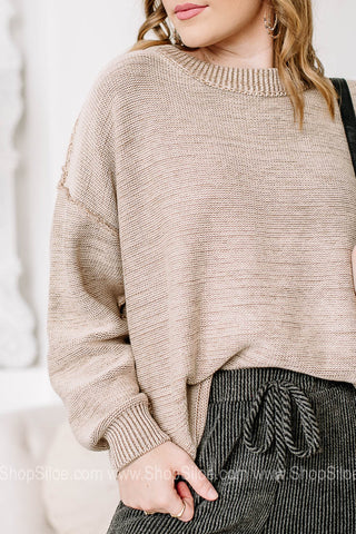 On My Agenda Drop Shoulder Sweater Top