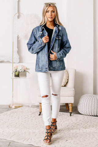 On The Trend Hooded Denim Jacket