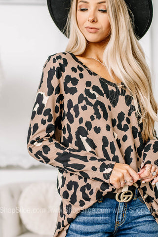 Own Knit Soft Leopard Print Top