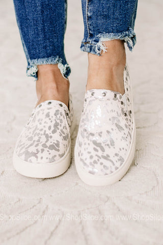 Pine Top Cow Print Canvas Sneakers | White Silver