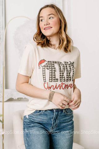 Plaid Merry Christmas Graphic Tee