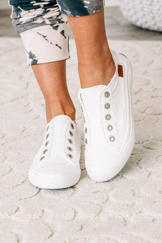Play White Smoked Canvas Sneakers