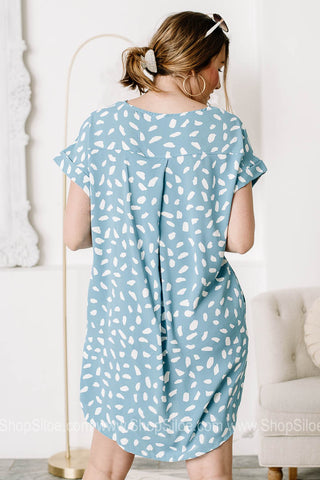 Pleased To Meet Ya Spotted Tunic Dress