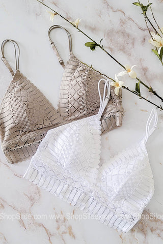 Plunging Lace Adjustable Strap Bralette | Colors