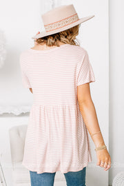Pretty In Pink Striped Babydoll Top