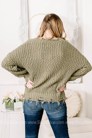 Prime & Proper Distressed Knit Sweater | Green